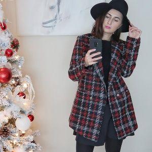 Jackets & Blazers - Vintage Stylish Plaid Double Breasted Tweed Blazer